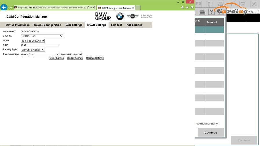 ICOM Configuration Manager-Wlan settings