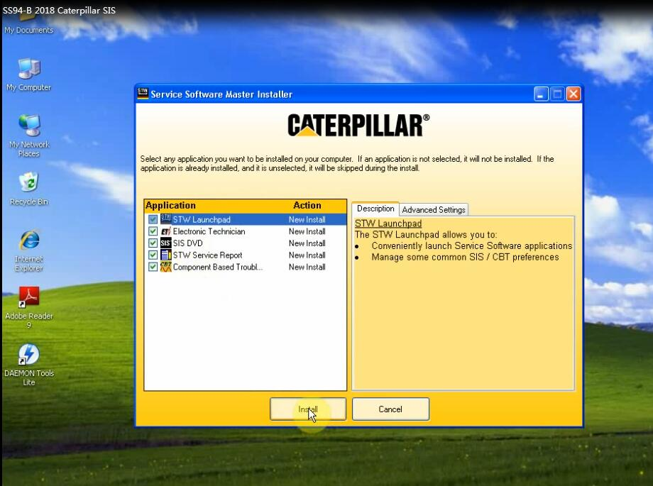 How to install Caterpillar SIS 2018 1 on Windows 8?